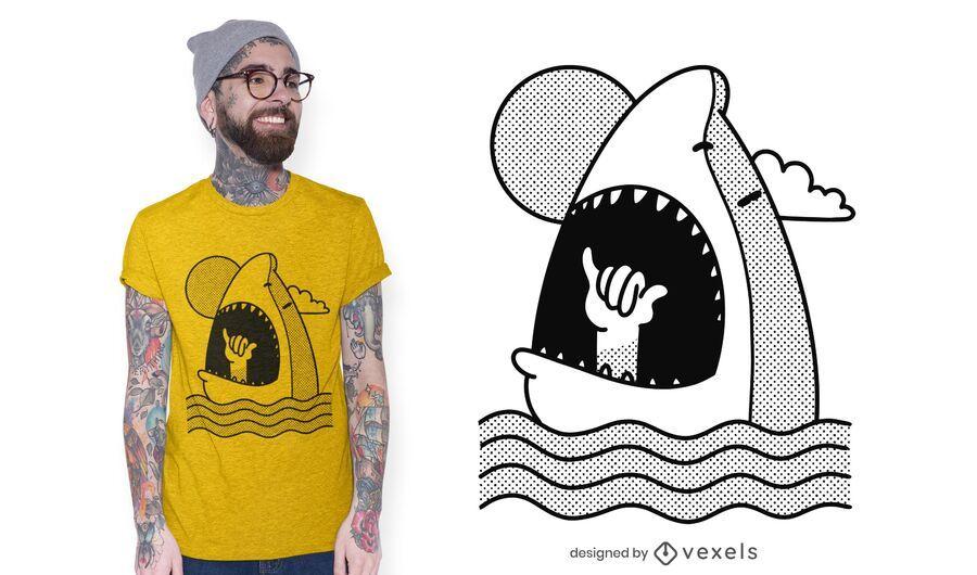 Diseño de camiseta Shaka Shark