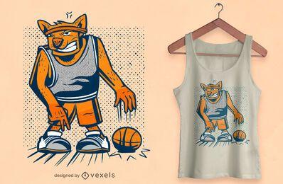 Diseño de camiseta de perro de baloncesto.