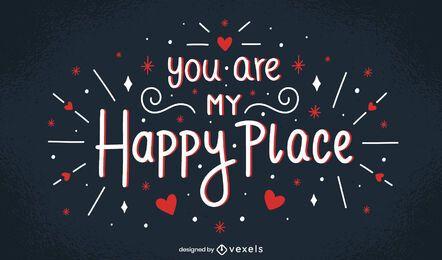 Diseño de letras de san valentín de my happy place