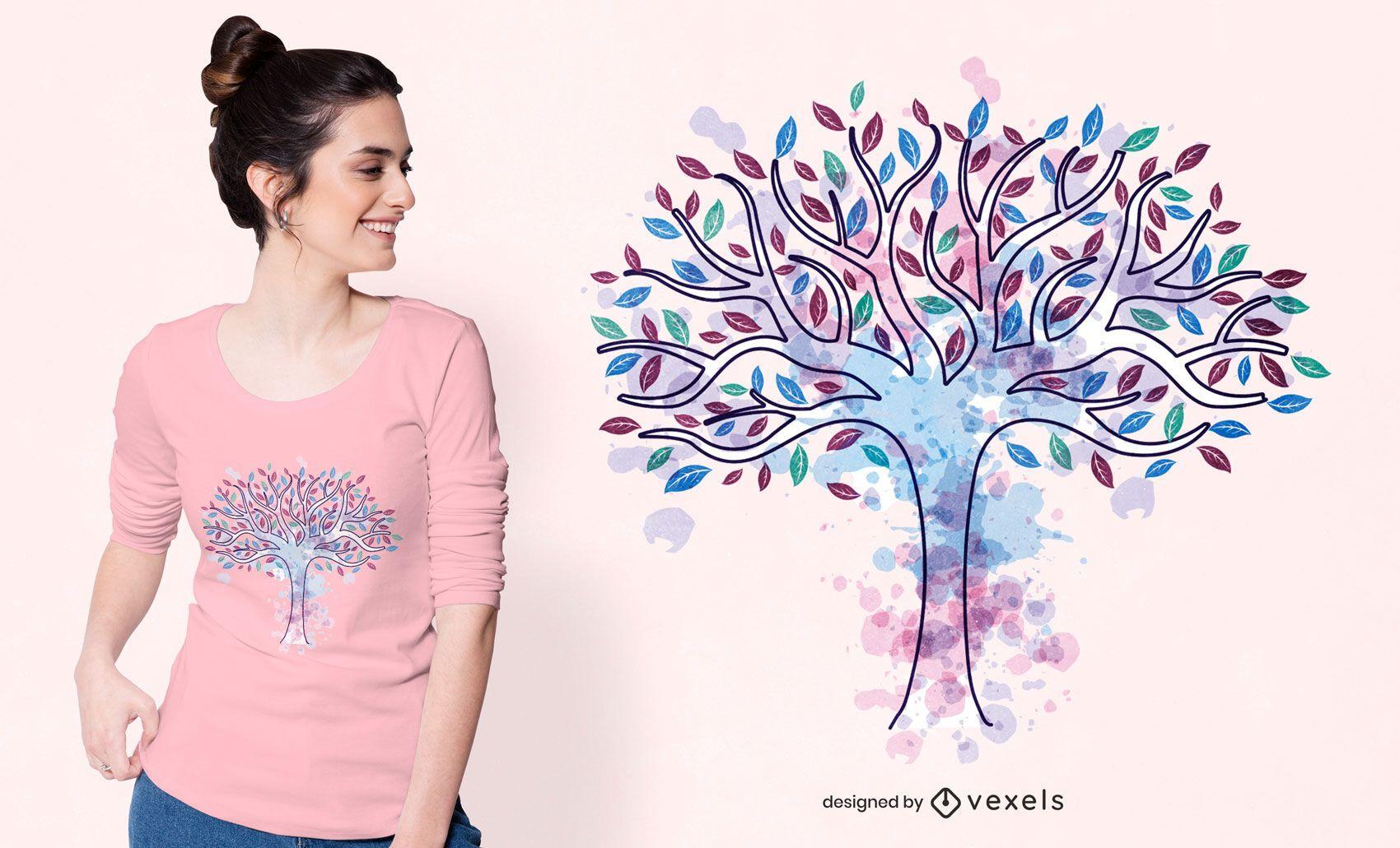 Diseño de camiseta de árbol de la vida en acuarela