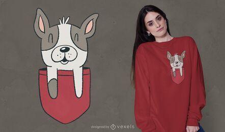 Diseño de camiseta con bolsillo de bulldog francés