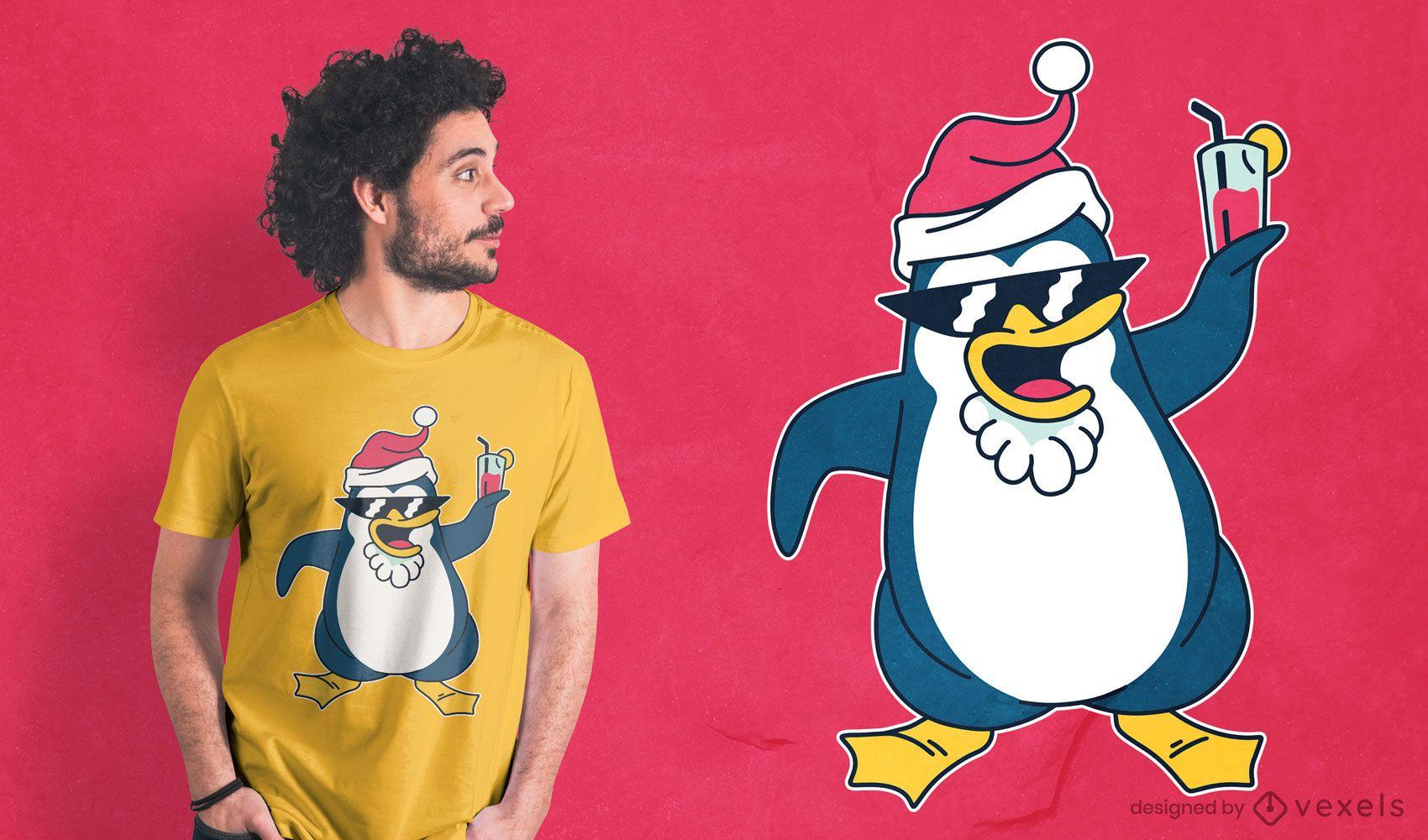 Dise?o de camiseta de ping?ino navide?o