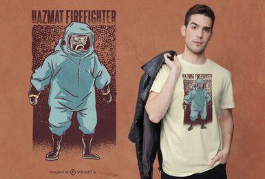 Design de t-shirt de fato de bombeiro