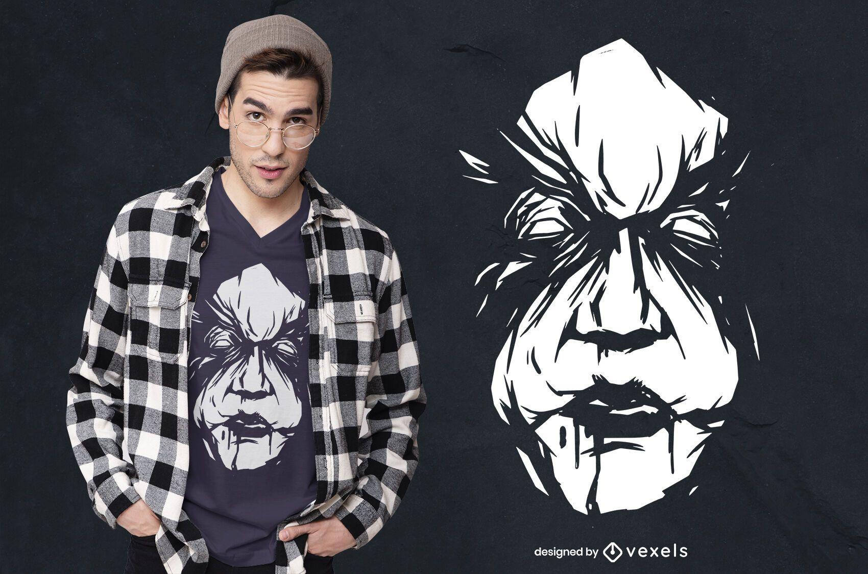 Diseño de camiseta asesino espeluznante