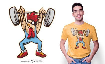 Diseño de camiseta de pollo de levantamiento de pesas.