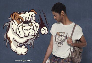 Design de camiseta de bulldog zangado