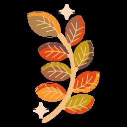 Folha de outono ramo folha plana