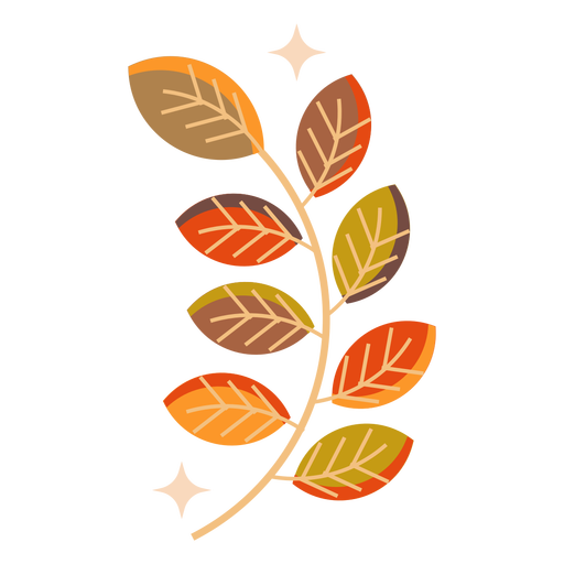 Autumn leaf branch flat leaf Transparent PNG