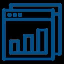 Gráfico de barras dentro do ícone da janela do computador