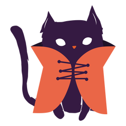 Black cat with coat illustration cat