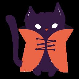 Gato preto com ilustração de casaco gato