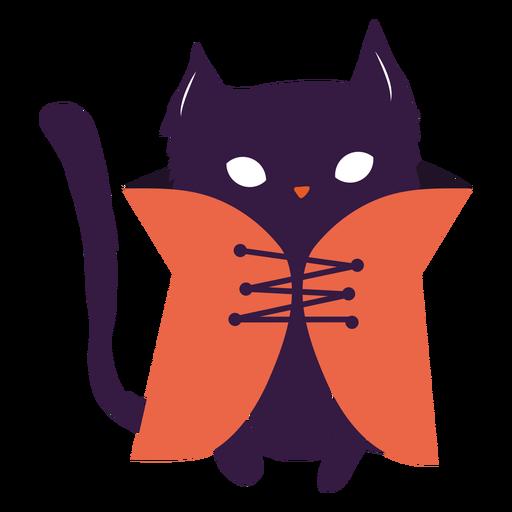 Black cat with coat illustration cat Transparent PNG