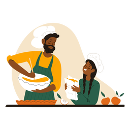 Black man and woman cooking character man