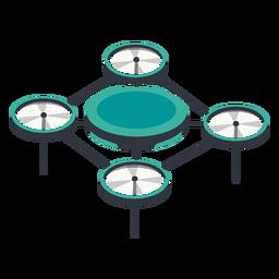 Drone de ilustração de drone quadricóptero circular