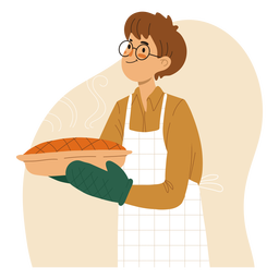 Cook holding a pie character cook