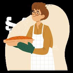 Cozinheiro segurando um cozinheiro de personagem de torta