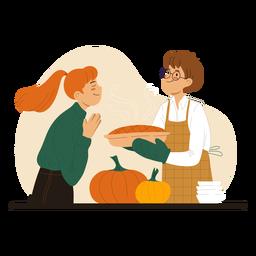 Casal cozinhando um casal de personagens de pizza