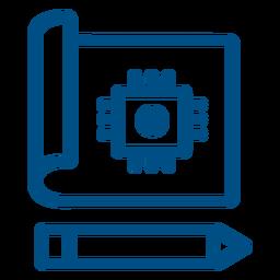 Chip de computador desenhado ícone de acidente vascular cerebral chip de computador