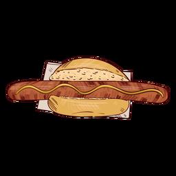 Ilustración de perrito caliente salchicha salchicha