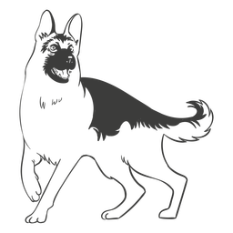 German shepherd dog hand drawn dog