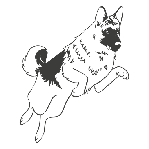 German Shepherd Jumping Hand Drawn Dog Transparent Png Svg Vector File