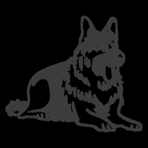 Pastor alemán que se establecen perro dibujado a mano