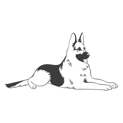 German shepherd laying hand drawn dog