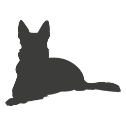 German shepherd laying silhouette dog