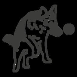 Pastor alemán jugando perro dibujado a mano