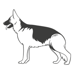 German shepherd side hand drawn dog