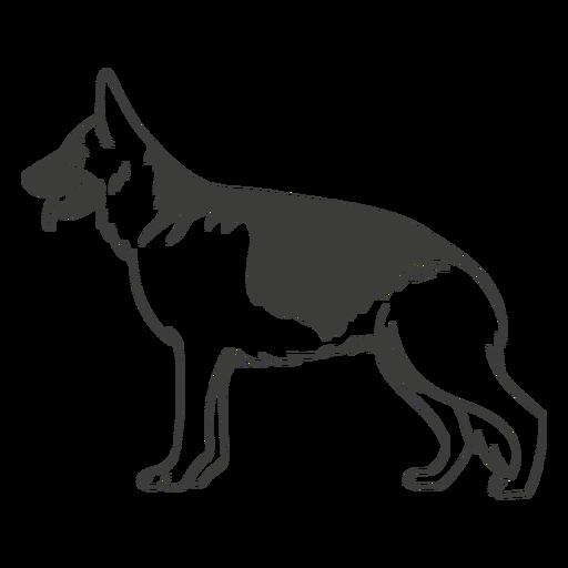 German shepherd side hand drawn dog