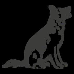 Pastor alemán sentado perro dibujado a mano