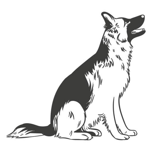 German shepherd sitting hand drawn dog