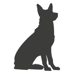 German shepherd sitting silhouette dog