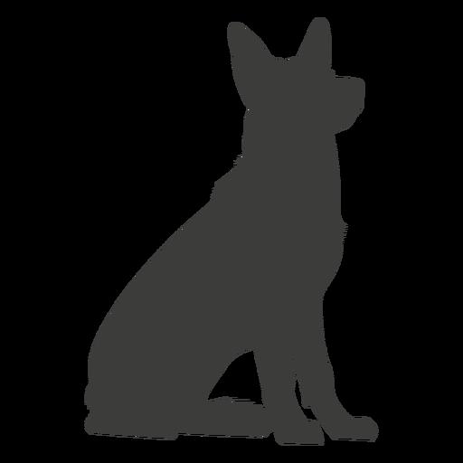 Cão pastor alemão sentado em silhueta