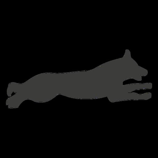 German shepherd sprinting silhouette dog