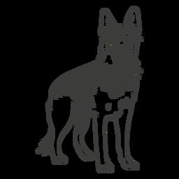 German shepherd standing hand drawn dog