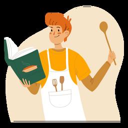 Homem de gengibre cozinhando personagem de gengibre