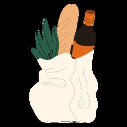 Ilustração de sacola de compras comestíveis
