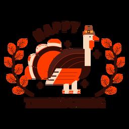 Feliz día de acción de gracias pavo insignia acción de gracias