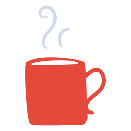Hot beverage mug flat hot