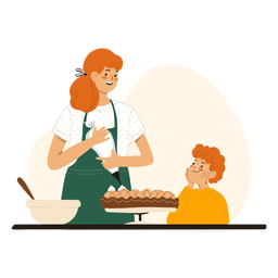 Madre e hijo cocinando personajes madre