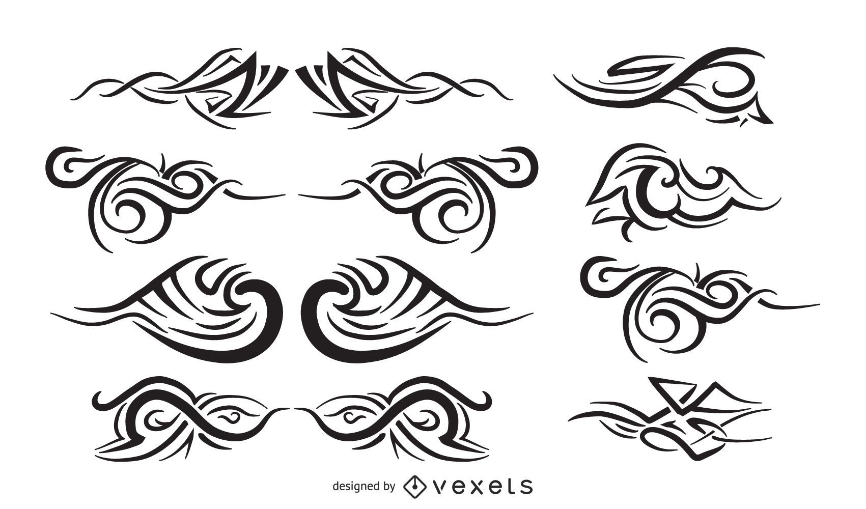 Conjunto de tatuajes tribales vectores gratis