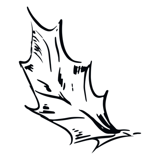 Hoja puntiaguda hoja de ilustración en blanco y negro