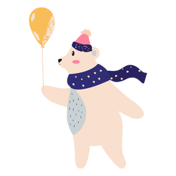 Polar bear with balloon illustration bear