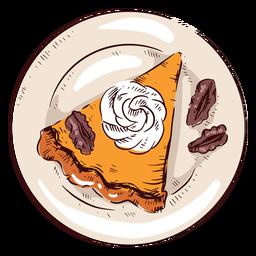 Pastel de calabaza rebanada ilustración pastel de acción de gracias