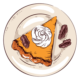 Pumpkin pie slice illustration thanksgiving pie