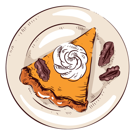 Pumpkin pie slice illustration thanksgiving pie Transparent PNG