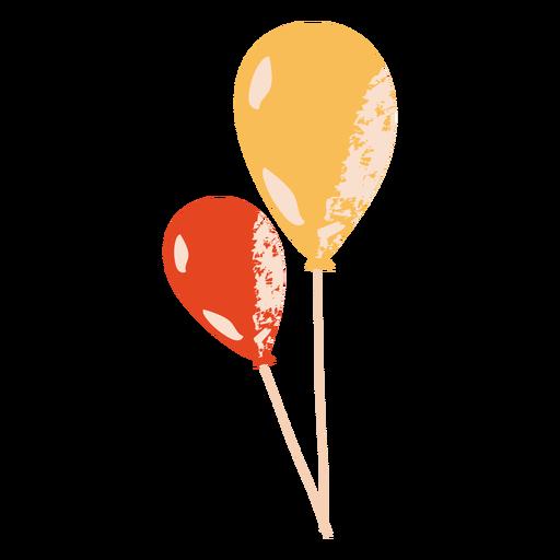 Globos rojos y amarillos globos planos