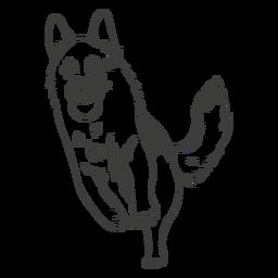 Corriendo perro pastor alemán dibujado a mano